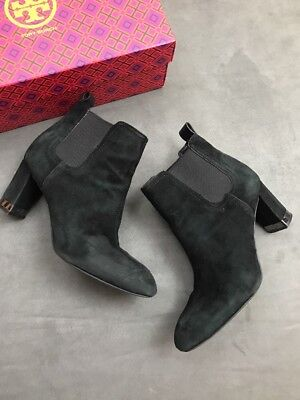 7d4004485a45 TORY BURCH BRISTOL 85 mm BLACK leather calf boot ankle zip 7 bootie ...