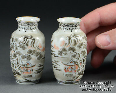 PAIR Chinese Miniature Porcelain Vases, Winter Landscapes, Republic Period