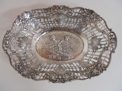 Ornate Antique Pierced German Poland ? 800 Sterling Silver Bowl Angels Putti