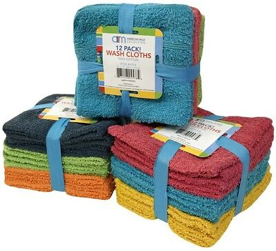 """Wash Cloths 12 Pack Assorted Colors 100% Cotton 11"""" X 11"""" Brand New"""