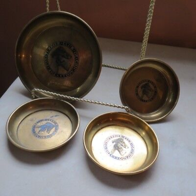 """Set of 4 Vtg Embossed Dogs """"The Fox Terrier Club Of Chicago"""" Brass Medal Coaster"""