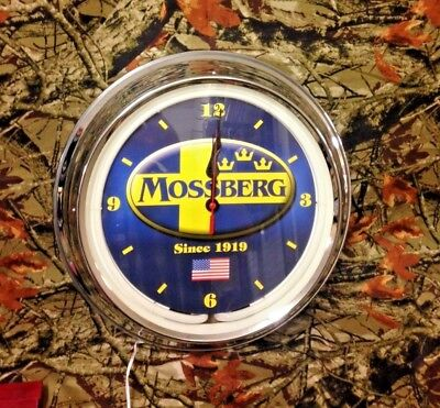 Mossberg Firearms Shotgun Hunting Gun Man Cave Wall Clock Sign Chrome Neon