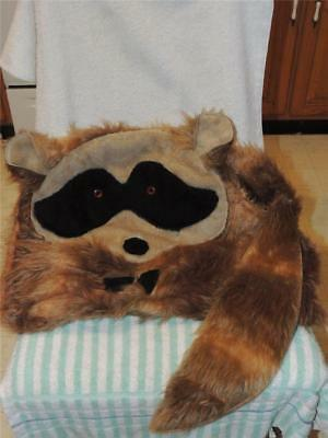 Vintage Hand Made OOAK Plush Raccoon Pillow Cover with tail Stuffed
