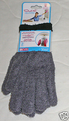 2 Evri Dust'R Gloves Fingers Duster Dusting Soft Microfiber House Cleaning Fuzzy