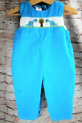 Retro Blue Turquoise Corduroy Overalls Jumper Dinosaurs Baby Size 9 Months