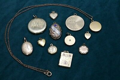 Lot of 12 Vintage/Antique Goldfilled Lockets, 1 w/ Enameling 39.0 grams