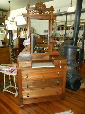 Vintage Eastlake 19th Century Dresser with Mirror Very Nice!! Marble Top Section