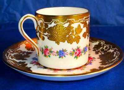 Hammersley & Co Hand Painted Gilding in Relief Bone China Cup & Saucer