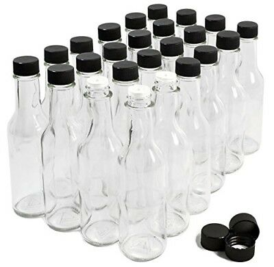 24 Pack Hot Sauce Bottles 5 Oz Clear Glass Dasher Empty Bottles For Sauces NEW
