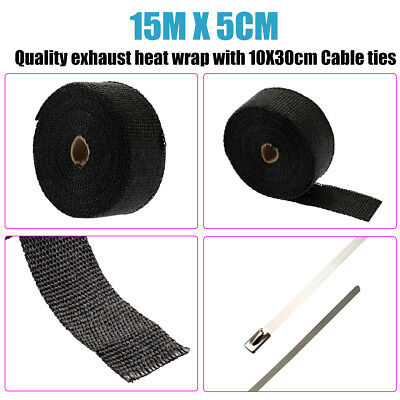 30M 2pcs 2000F BLACK EXHAUST HEAT WRAP 50MM X 15M + 20 STAINLESS STEEL TIES AU