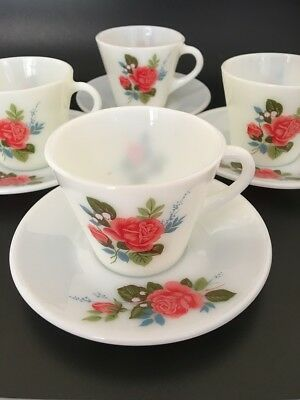 VINTAGE JAJ Pyrex Tea Cup & Saucer Set x 4 - Cottage Rose Pattern
