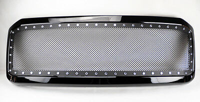 Ford F250 F350 2005-2007 Rivet Black SS Wire Mesh Black Front Hood Grill & Shell