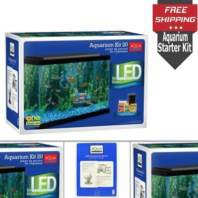20 Gallon Aquarium Fish Tank Starter Kit W/ Efficient LED Lighting Tetra Filter