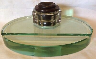Vintage Seng Busch Self Closing Bakelite Ink Well On Glass Stand-Usa