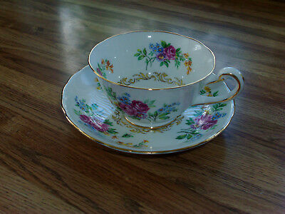 Royal Chelsea Footed TeaCup & Saucer - Pattern # 3710a, scalloped edge, Gold