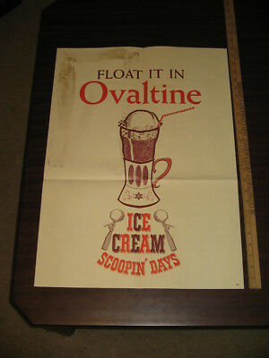 OVALTINE 1960s Ice Cream root beer float soda fountain store display sign