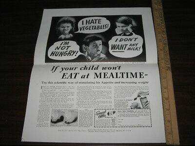 OVALTINE 1937 WHINY KID won't eat print ad PROOF single side LITTLE ORPHAN ANNIE