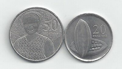 2 DIFFERENT COINS from GHANA - 20 & 50 PESEWAS (BOTH DATING 2007)