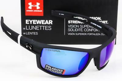 ca2453b82ad9 NEW UNDER ARMOUR CAPTAIN SUNGLASSES UA Satin Black / Blue Mirror Storm  Polarized