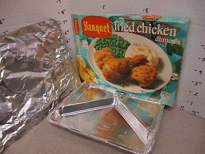Banquet TV DINNER 1972 FRIED CHICKEN peas mashed potato frozen food, foil tray C