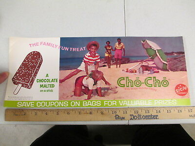 CHO CHO Popsicle chocolate 1962 ice cream store display poster sign BEACH FAMILY