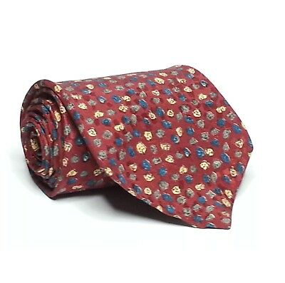 """EMODA ITALY Men Dress Silk Tie Red With Microprint 3 3/4"""" wide 57"""" long"""