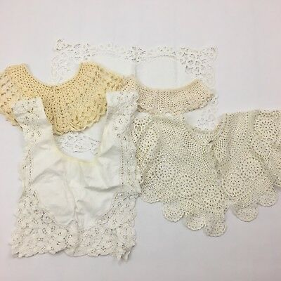Vintage Collar Lace Lot 5 Embroidered Layered Scalloped Ivory Antique Crochet