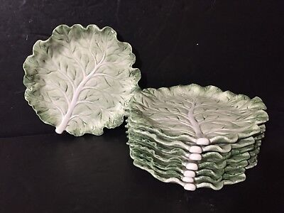 "Lot of 8 Fitz & Floyd Green/White Cabbage Leaf Appetizer Plates 6.75"" Canape SET"