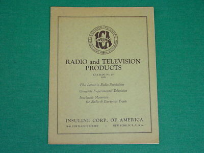 1929 ICA, Insuline Catalog, Radio & Mechanical Television Products, 16 pg. Exc.