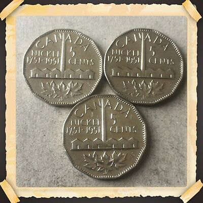 Lot Of 3 1751-1951  Canada five cents Canadian nickels Coins #ABC2