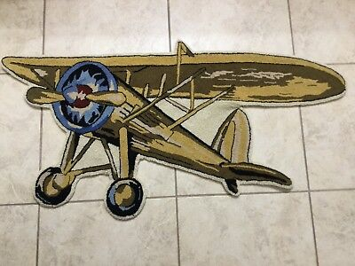"Pottery Barn? Kids Airplane Shaped Wool Hooked Rug 46"" x 21"""