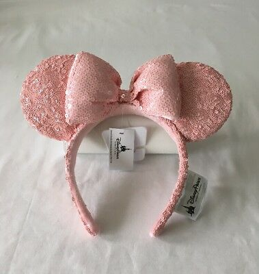 Disney Parks Authentic Minnie Mouse Millennial Pink Headband Ears ~ Nwt