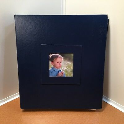 """PINNACLE NAVY PHOTO ALBUM , Holds Photographs Up To 8' X 10"""",  100 PAGES READ"""