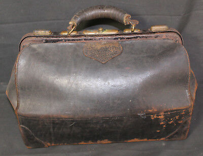 Antique Early Doctor Physician Housecall Folding Expandable Bag Briefcase