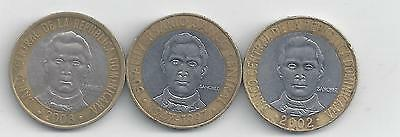 3 BI-METAL 5 PESO COINS from the DOMINICAN REPUBLIC (1997, 2002 & 2008)