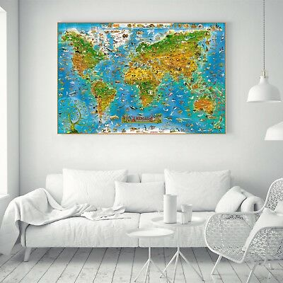 Animal Of The World Education World Map Silk Canvas Poster Art Painting Decor 90
