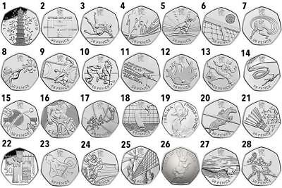 RARE 50p FIFTY PENCE COIN JEMIMA PUDDLE DUCK OLYMPICS ISAAC NEWTON & MANY MORE