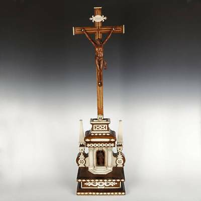 Rare Antique Colonial Standing Crucifix Cross Latin America Late 19Th Early 20Th