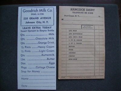 Broome County Ny Two Different Milk Man's Order Sheet Goodrich & Hancock Dairy