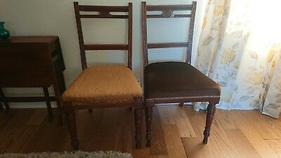Good Quality Pair Antique Regency  Mahogany Dining Chairs Reupholstery