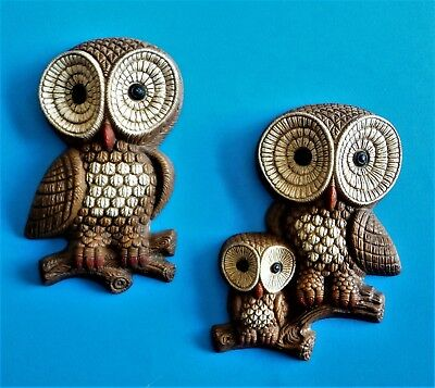 Cute Vintage Pair Retro Mid Century Foam Craft Owl Family Wall Hangings Plaques