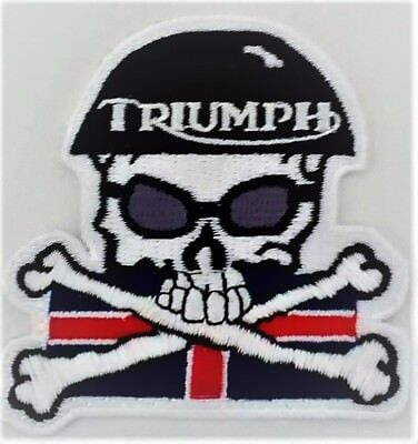 Triumph Motorcycles  3 Inch Skull Crossbones Patch With Flag