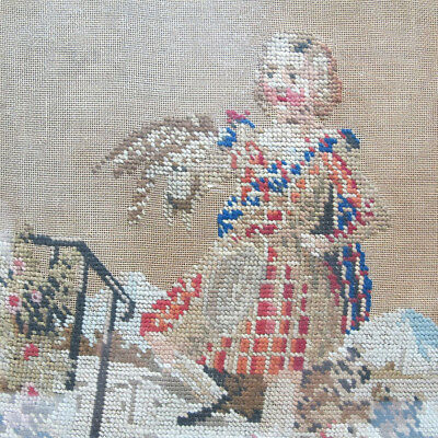 Antique 19th C Victorian Embroidery Young Man with Hawk & Dog Needlework NR yqz