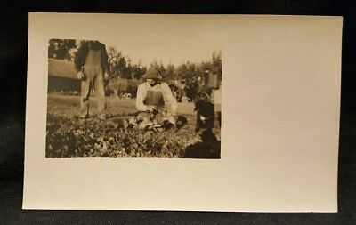 Farmers with Puppies Likely in North Dakota, Real Photo Postcard