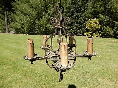 Antique 20s Art Deco Victorian 5 Light Chandelier Gothic Dungeon Ceiling Fixture
