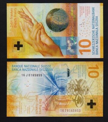 Switzerland –  10 Francs new series Uncirculated Banknote.