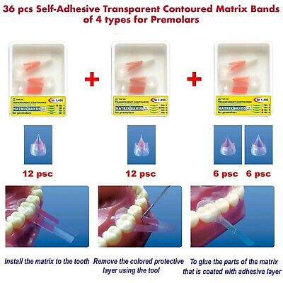 36 Self-Adhesive Transparent Contoured Matrix Bands for Premolars 4 types TOR VM