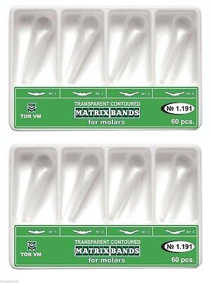 120 Pcs Dental Molar Transparent Contoured Matrices Matrix Bands TOR VM 1.191