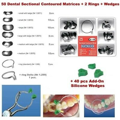 50 pcs Dental Sectional Contoured Matrices Matrix Ring + 40 Silicone Wedges TOR