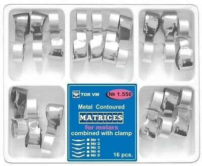 Dental Metal Contoured Matrices Matrix Molars Premolars with Clamp 16 pcs TOR VM